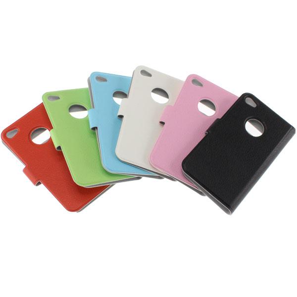 【上海問屋限定販売】 愛らしいパステルカラー カバーを閉じたまま通話可能 iPhone4-4S用レザー調カバー販売開始