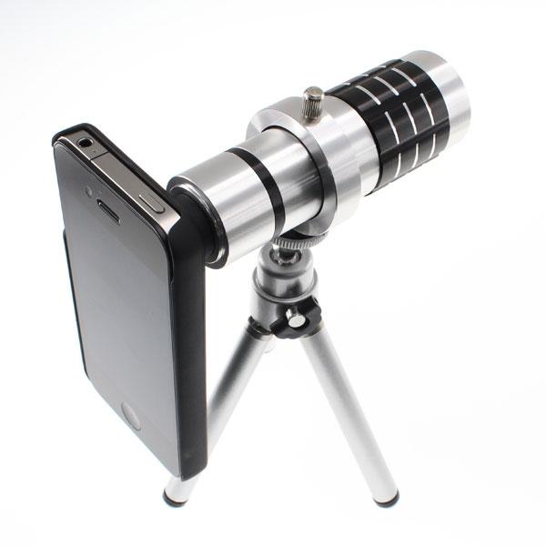 【上海問屋限定販売】iPhone4/4S専用望遠レンズ 三脚付き12倍望遠レンズ 手軽な4倍望遠レンズ 販売開始