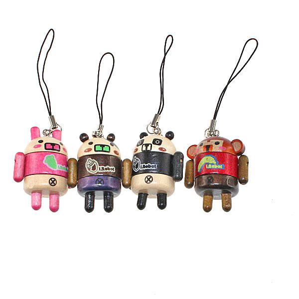 【上海問屋限定販売】  大人気のあのロボット形ストラップ  シリコン製と木製アニマル人形風 販売開始