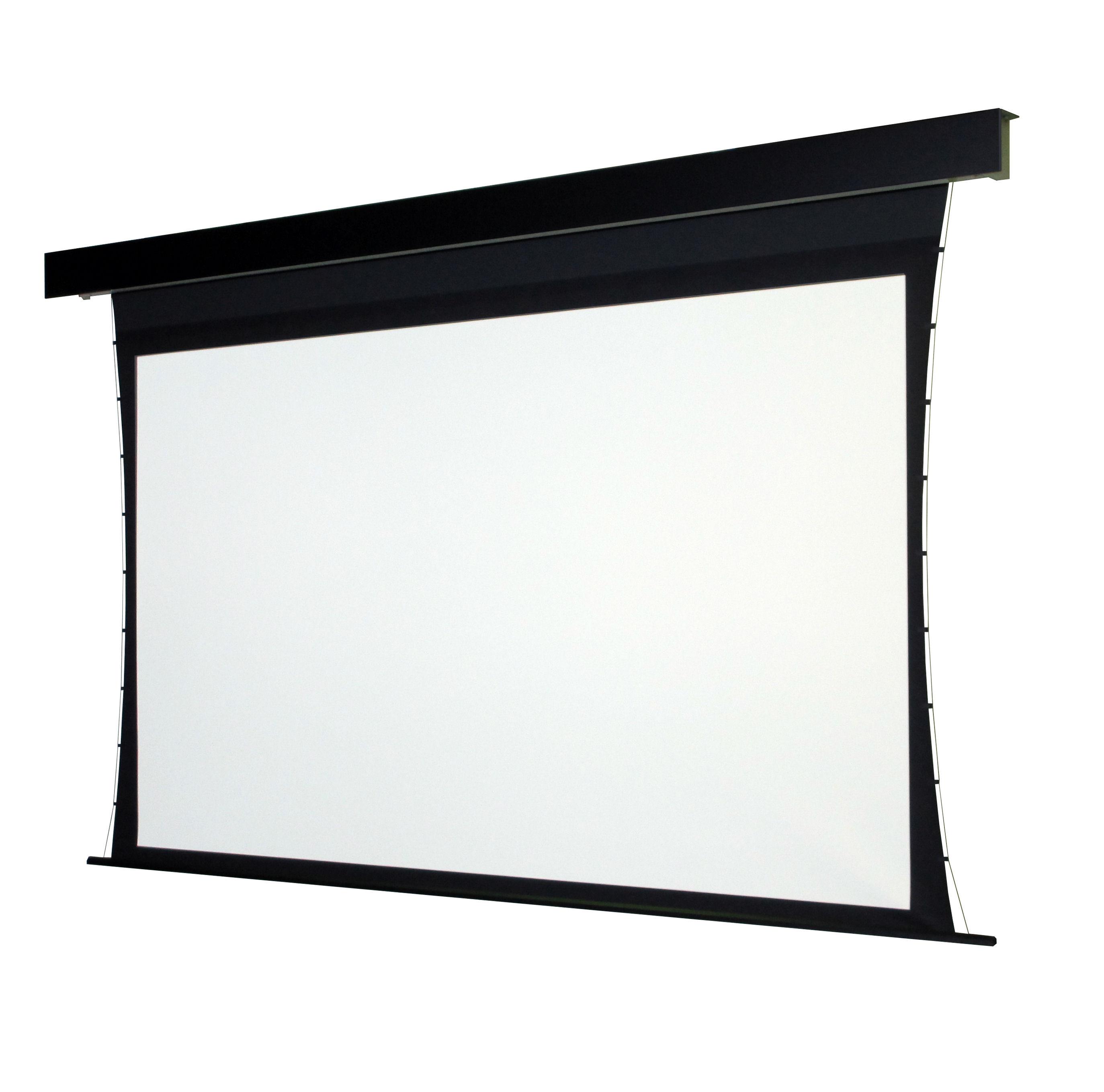 サイドテンション付き電動スクリーンSTP 張込スクリーン並みの優れた平面性を実現しオーエスから新登場!