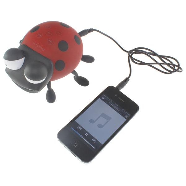 【上海問屋限定販売】 iPhone5も対応 音に合わせてテントウ虫が踊る MP3プレーヤー兼 テントウ虫型ダンシングスピーカー 販売開始