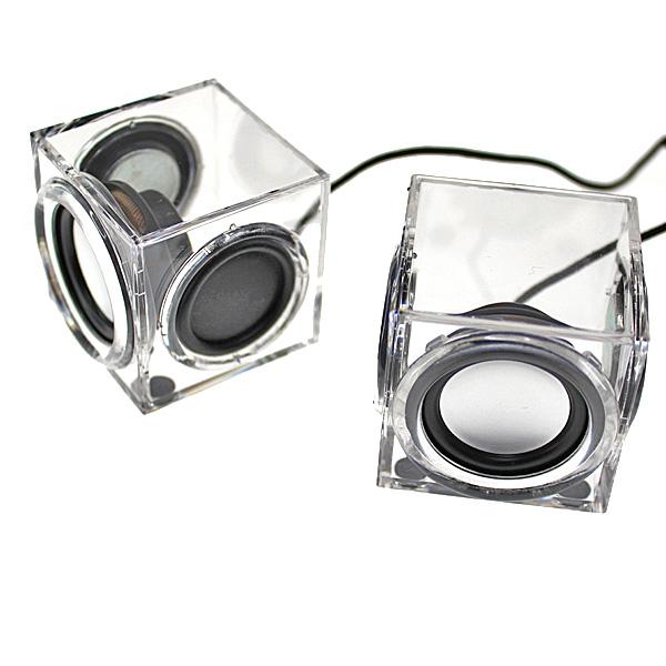 【上海問屋限定販売】 両サイドに振動板を搭載 小さなボディで迫力の音質 アクリル製キューブ形スピーカー 販売開始