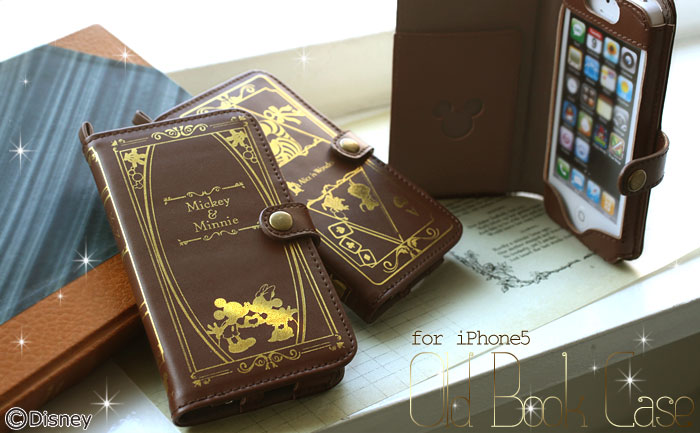 ディズニーの洋書風iPhone5ケースがあなたを夢の世界へ誘います♪ Disneyキャラクターが金箔でデザインされた、上品な本革ケースの販売開始。