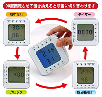 夏は熱中症計、冬は風邪指標計。 回転させるだけで4つの機能が切り替わる 『ターンクロック環境指標計』新発売