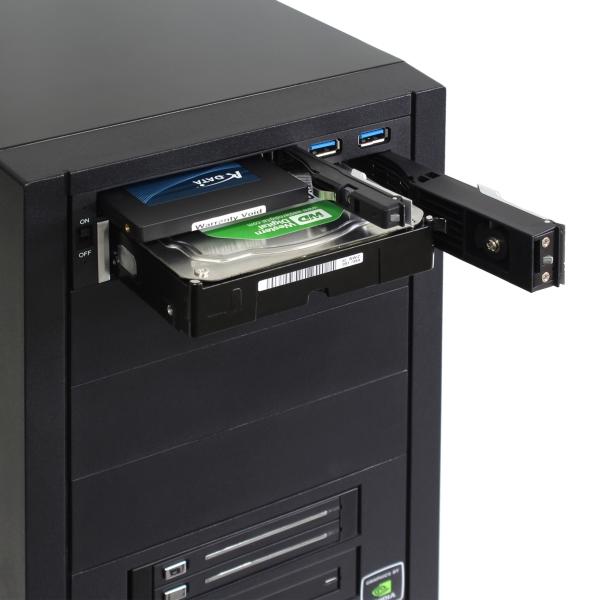【上海問屋】 ハードディスクを簡単増設 USB3.0ポートつきSSDと2.5/3.5インチHDD対応 リムーバブルエンクロージャー販売開始