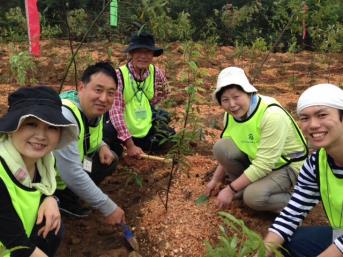 広州市採石跡地での植樹の様子1