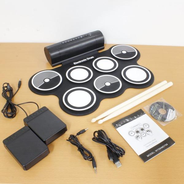 【上海問屋限定販売】 デスクの上で本格ドラムを楽しめる 7パッド+2フットペダル電子ドラムパッド 販売開始