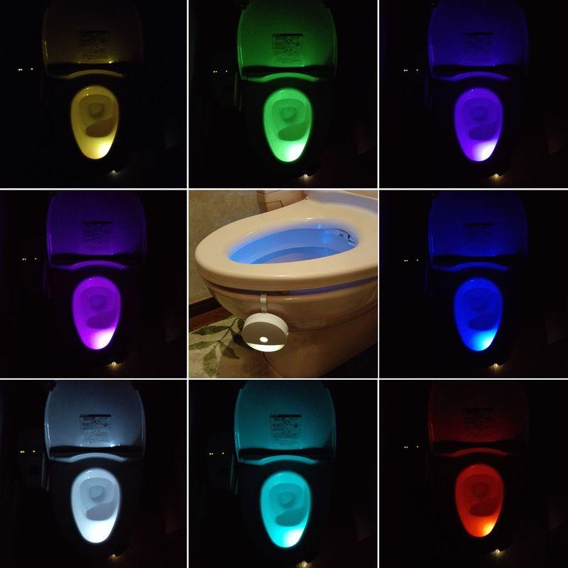 【上海問屋限定販売】 トイレをムーディに演出 8色のライトで癒やしの空間に モーションセンサーカラフルLEDライト 販売開始