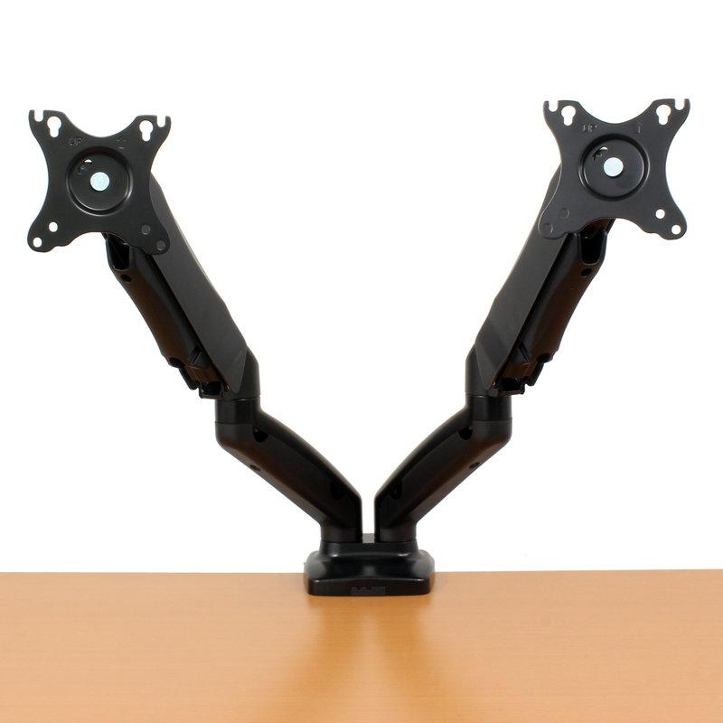 【上海問屋限定販売】 2つのモニター角度や高さを自由自在 常に最適ポジションに固定できる ガススプリング デュアルモニターアーム 販売開始