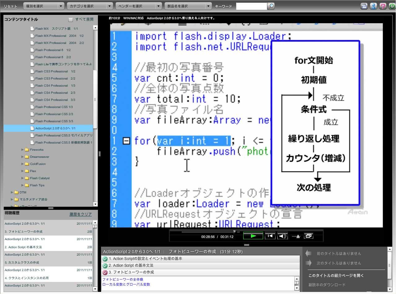 eラーニング『ActionScript 2.0から3.0への乗換え講座』を動学.tvに11月18日公開