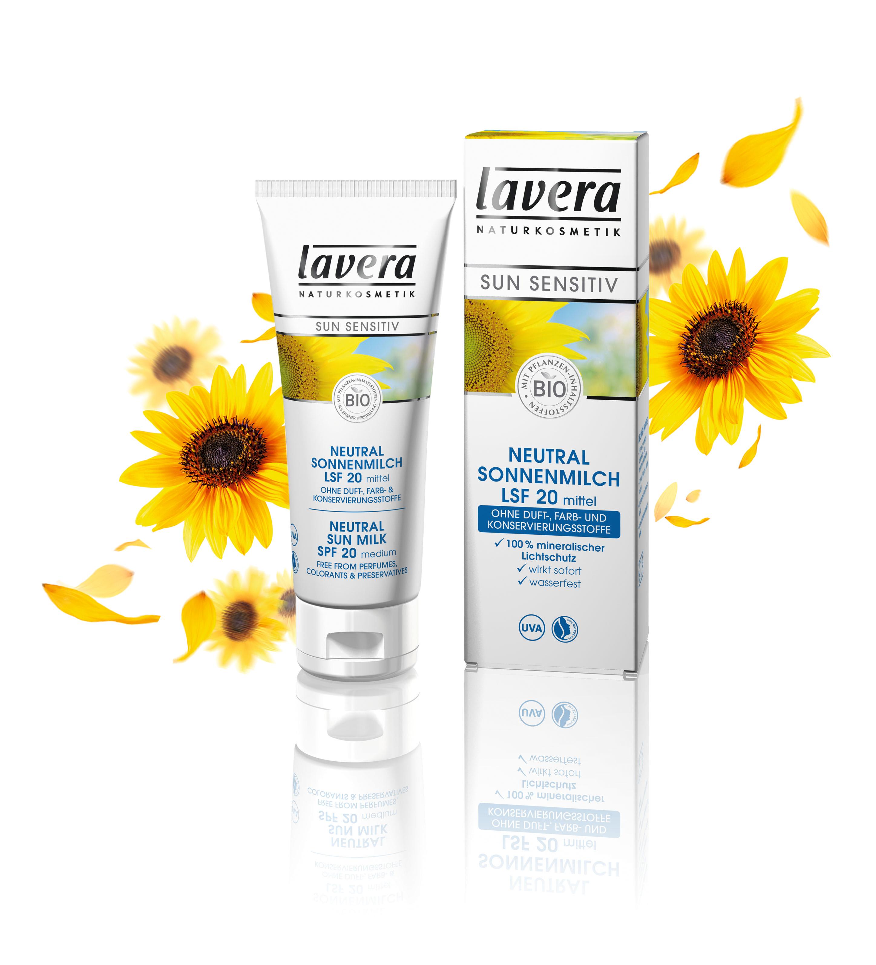 《ラヴェーラ》 ニュートラル サンミルク20 リニューアル新発売  UVAマーク表示&オーガニック認証コスメの敏感肌用日焼け止めクリーム