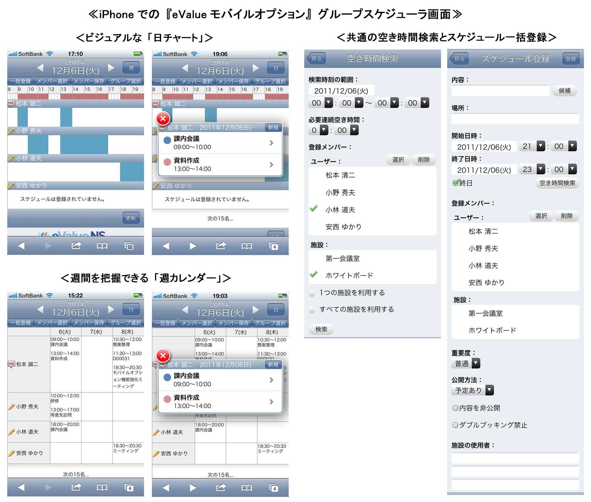 OSK ≪グループウェアに先進のモバイルソリューションを提供する『eValue NS モバイルオプション』を機能強化≫ ~ モバイルでメンバーのスケジュールをビジュアルに表示し、共通の空き時間を検索 ~