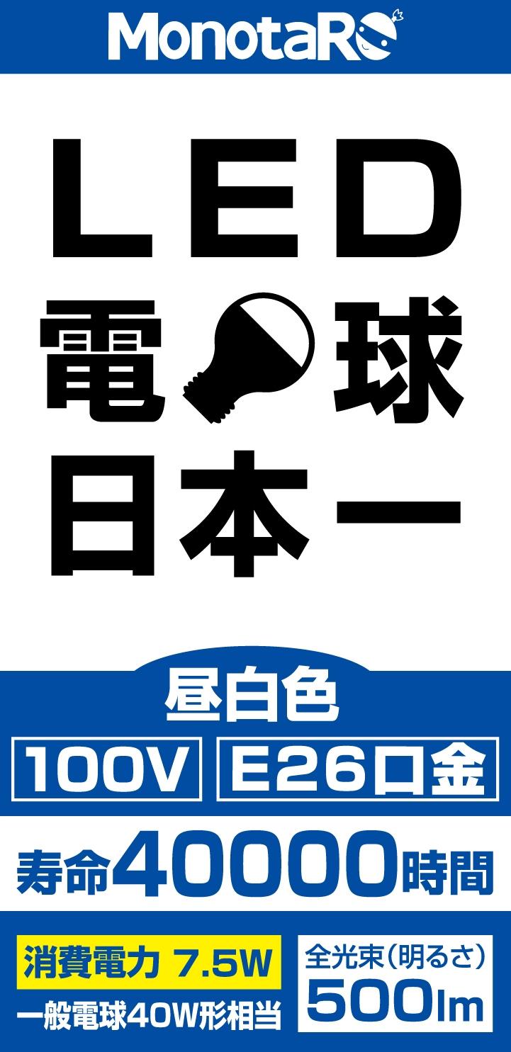 「工場で使える便利な通販」MonotaRO.com MonotaROブランドより、「LED電球日本一」を発売~3月16(金)より、節電対策商品としてLED電球を市場価格より5割以上安く発売開始~
