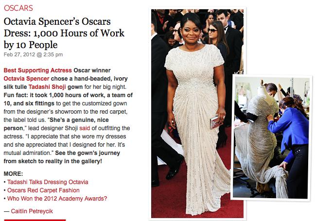 タダシ ショージのドレスでベストドレッサー賞を獲得したオクタヴィア・スペンサーが第84回アカデミー賞でも助演女優賞受賞!オスカー像の映えるタダシショージのドレスが話題に