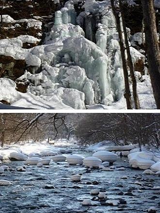 『雪と氷の造形美が織り成す雪が奥入瀬渓流』