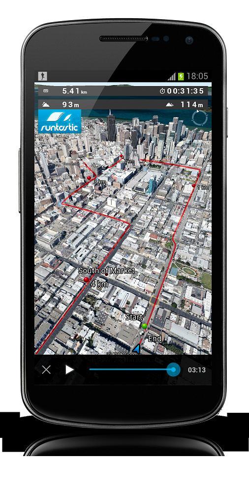 【runtastic】走ったルートをアンドロイドフォンで3D疑似体験できるEarth View機能の提供を開始