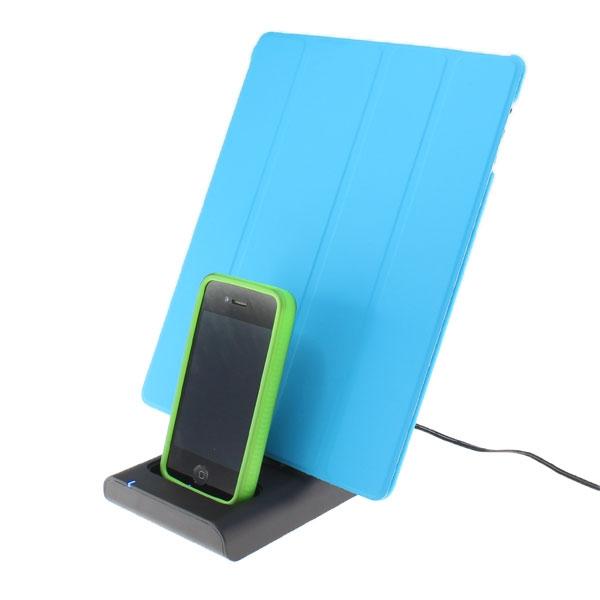 【上海問屋限定販売】iPhoneとiPad カバーをしたまま同時充電可能 コネクタ2機搭載充電スタンド 販売開始