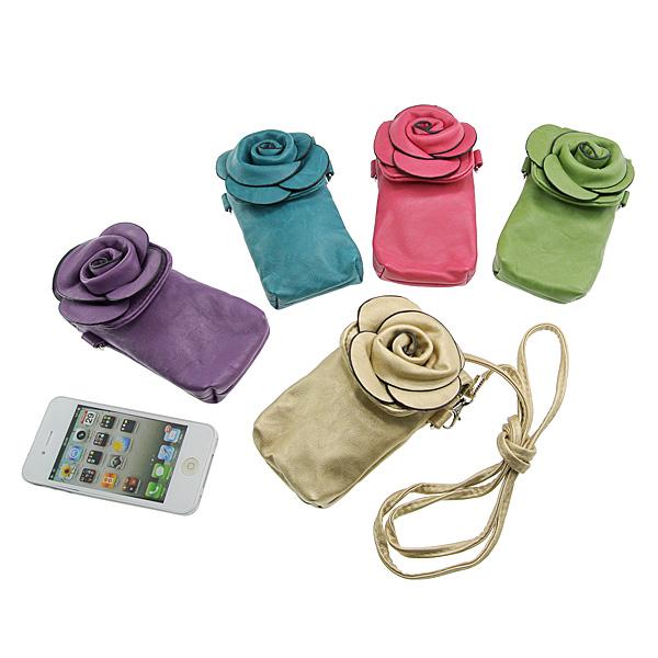 【上海問屋限定販売】 ロマンティックなスマホケース バラ形コサージュ付きスマートフォン用ポシェット 販売開始