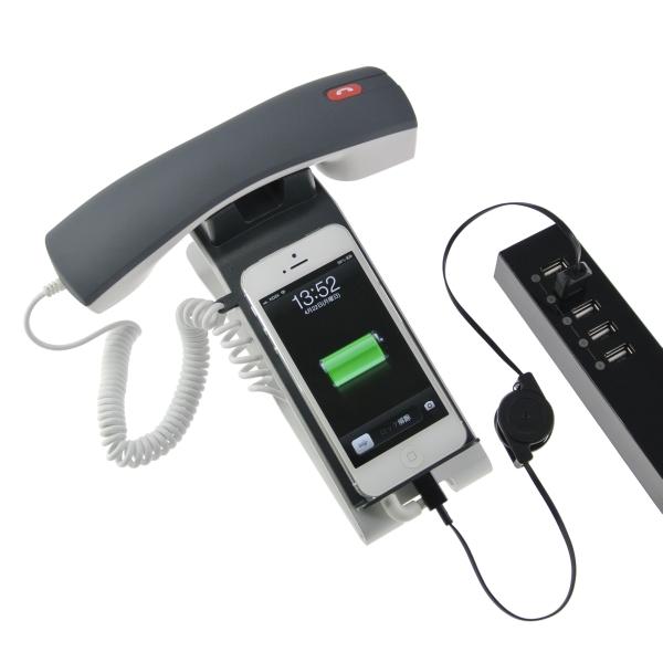 【上海問屋限定販売】iPhone/スマホの使い勝手がかなりあがります 面白いだけじゃない アルミ製スタンド付き受話器型ヘッドセット 販売開始
