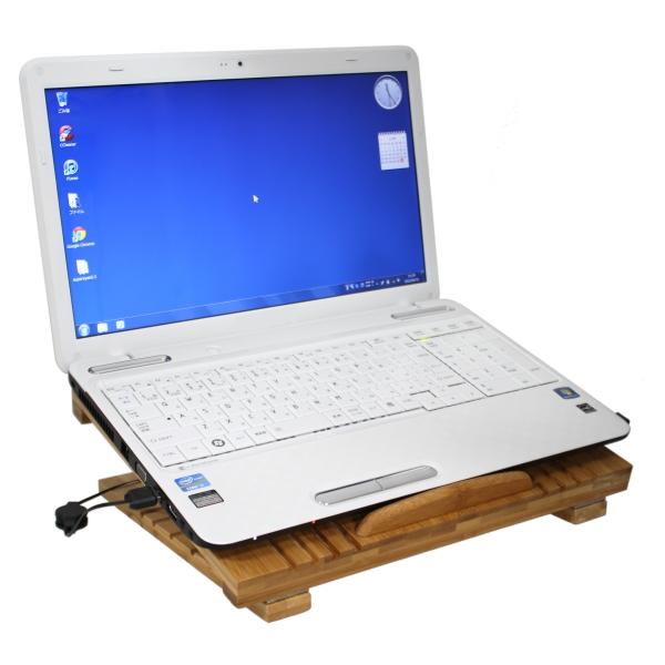 【上海問屋限定販売】見た目も涼しいノートPCクーラー 冷却ファン付き竹製PCスタンド 販売開始