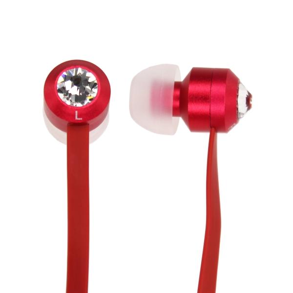 【上海問屋限定販売】優雅な気分になれるイヤフォン 絡みにくいフラットケーブルも便利 スワロフスキー・クリスタル付きカラフルイヤフォン 販売開始