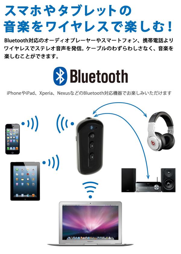 【上海問屋限定販売】 スマホやタブレット、自宅のステレオ 音楽をワイヤレスで楽しむ Bluetooth Ver.3.0対応 ポータブルオーディオレシーバー 販売開始