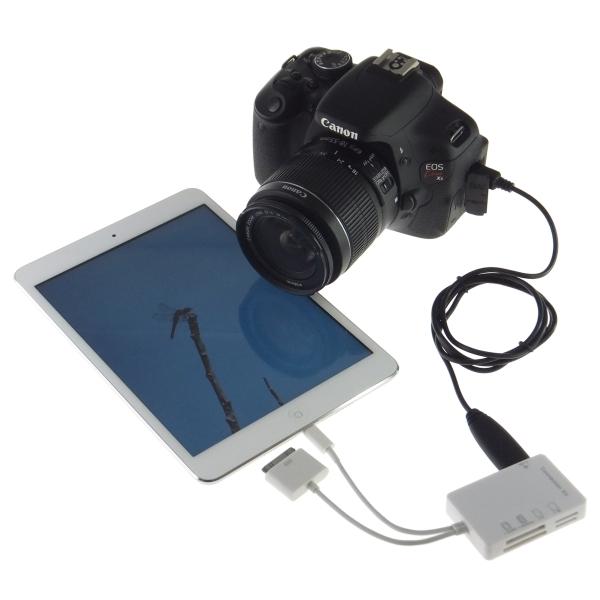 【上海問屋限定販売】 LightningもDockコネクタも両方搭載 iPad 第4世代/3/2/1 iPad mini対応 マルチカードリーダー 販売開始