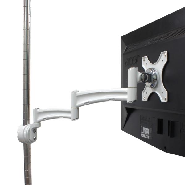【上海問屋限定販売】 ワイヤーシェルフなどのポールに設置可能 ポール設置用モニターアーム販売開始