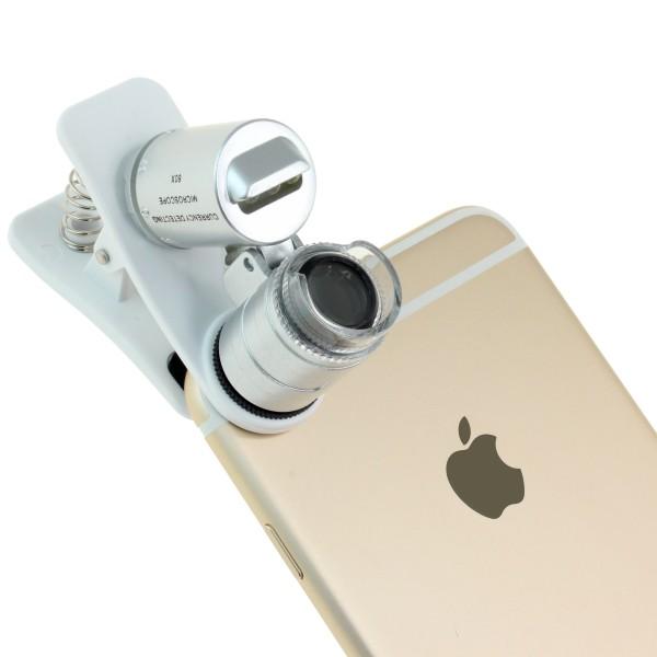 【上海問屋限定販売】 スマホがそのまま顕微鏡になる カメラ部分にクリップで簡単装着 60倍マイクロスコープ 販売開始