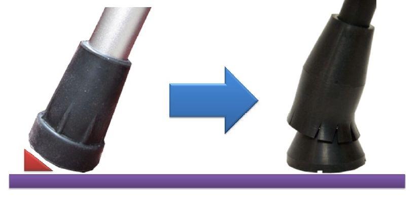 滑りにくい手・肘・肩に優しい杖先ゴム「ラクーン」を装着した楽運素敵を新発売!