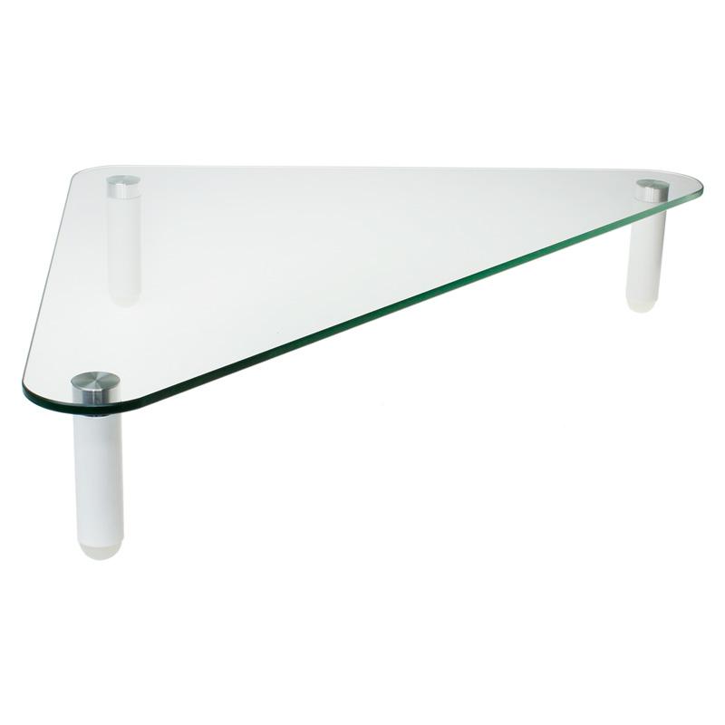 【上海問屋限定販売】 デスクのコーナーを有効活用 耐荷重20kgの強化ガラス採用 モニター用 トライアングルガラススタンド 販売開始