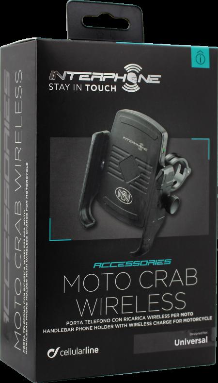 """バイクライダーに朗報!わずらわしいケーブルからの""""解放"""" ヨーロッパシェアNo1の携帯端末アクセサリーブランド セルラーライン社デザイン ワイヤレス充電対応スマートフォンホルダー「MOTO CRAB WIRELESS」 11月8日よりナップスにて先行販売開始"""