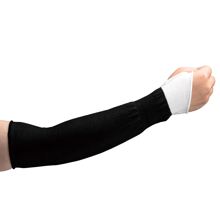~熱中対策や軽作業時の日焼け対策に~ 耐切創性と接触冷感を兼ね備えた腕を守る「カットガード腕カバーブラックシリーズ」ひも付き/親指掛けの2タイプが新登場