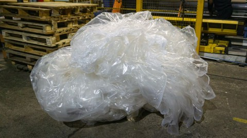 A bunch of polymer film. Waste in production. Chemical industry