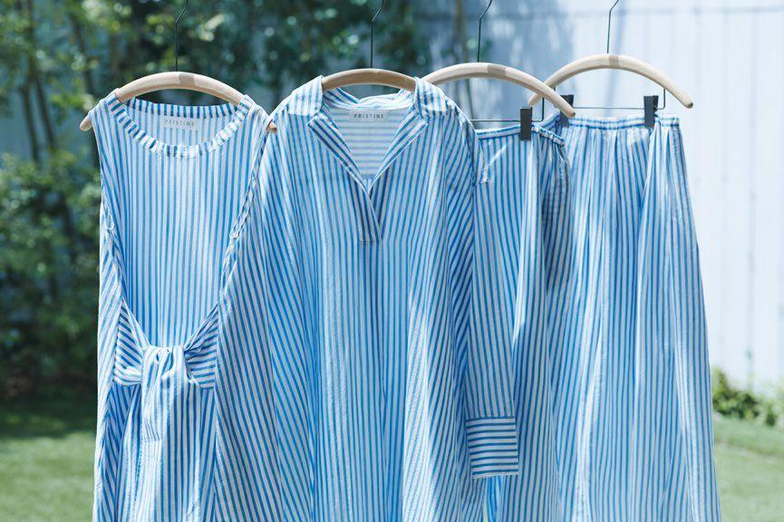 日本の伝統色「藍色」を身に纏い、夏を愉しむ。 プリスティン、「藍ストライプシリーズ」販売開始 こだわりのストライプは、天然藍を原料に手捺染で柄付けしました